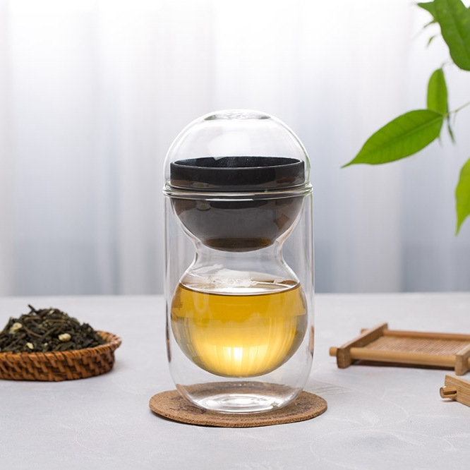 Creative gifts double round glass heat-resistant glass cup tea cup gourd-type double insulation tea cup filter