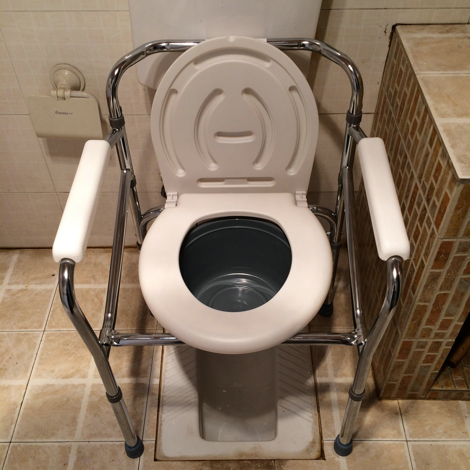 Stainless steel lifting folding toilet increased toilet seat chair