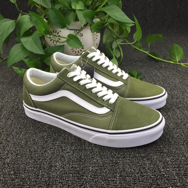2a8df4dbf3c881 VANS classic old skool army green flip fur skate shoes men and women shoes  low to