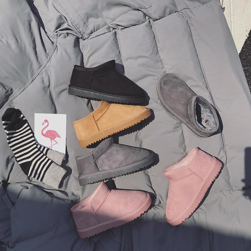 一脚蹬雪地靴女短筒冬季保暖防滑棉鞋韩版可爱学生加绒百搭短靴子