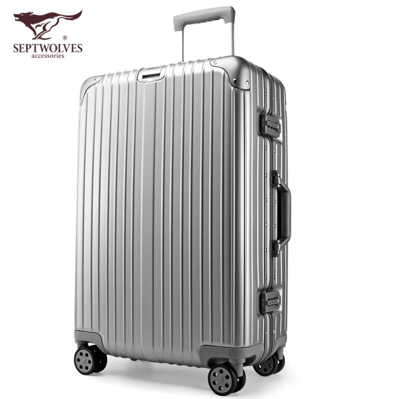 七匹狼拉杆箱万向轮静音商务行李箱20寸男女箱包24寸旅行箱密码箱