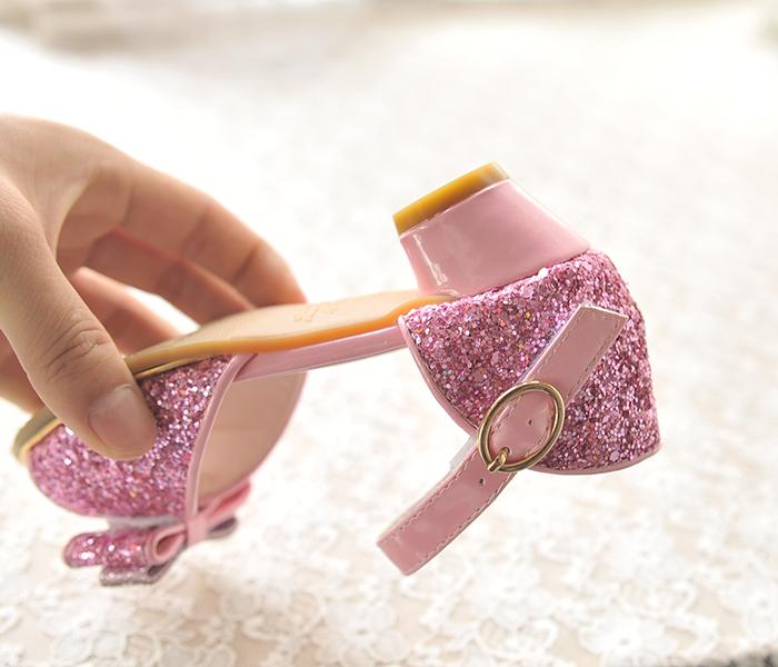2017新款女童凉鞋可爱蝴蝶结公主鞋夏季鱼嘴鞋闪亮儿童高跟水晶鞋