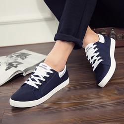 男鞋春季潮鞋韩版学生平底低帮板鞋黑白色男士休闲鞋子男生帆布鞋