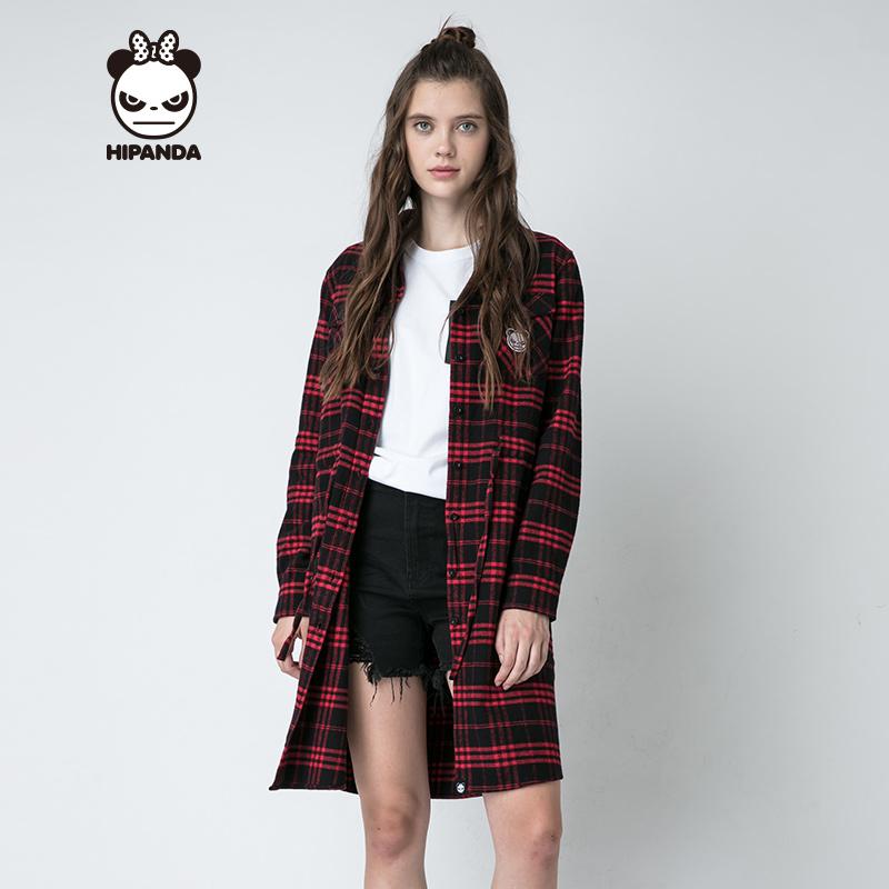 HIPANDA 你好熊猫 设计潮牌 新品 女款 饰织带格子衬衫裙