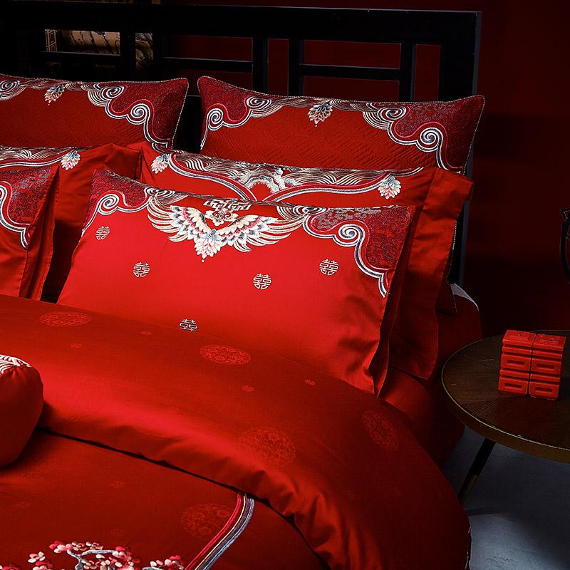 南方寝饰婚庆大红六件套结婚刺绣十件套1.8米喜庆套件全棉四件套