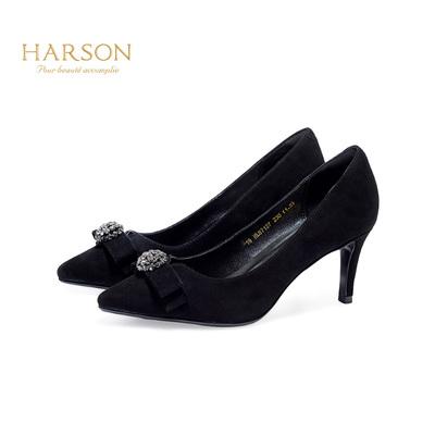 哈森 2018新款纯色羊皮水钻装饰蝴蝶结舒适中跟浅口单鞋HL87127