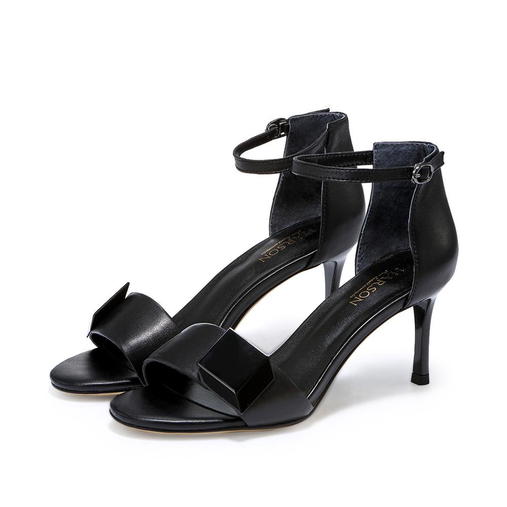 哈森 2017夏季新款女士凉鞋 百搭一字扣带凉鞋