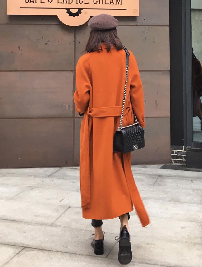 женское пальто Anna2016a/w темперамент золотой коричневый одеяние пояс двухсторонний рука зима шерсти