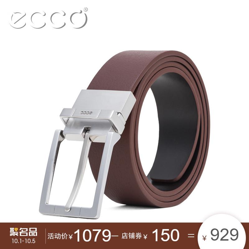 ECCO爱步男士商务正装皮带 头层牛皮青年针扣腰带男 Evry 9104628