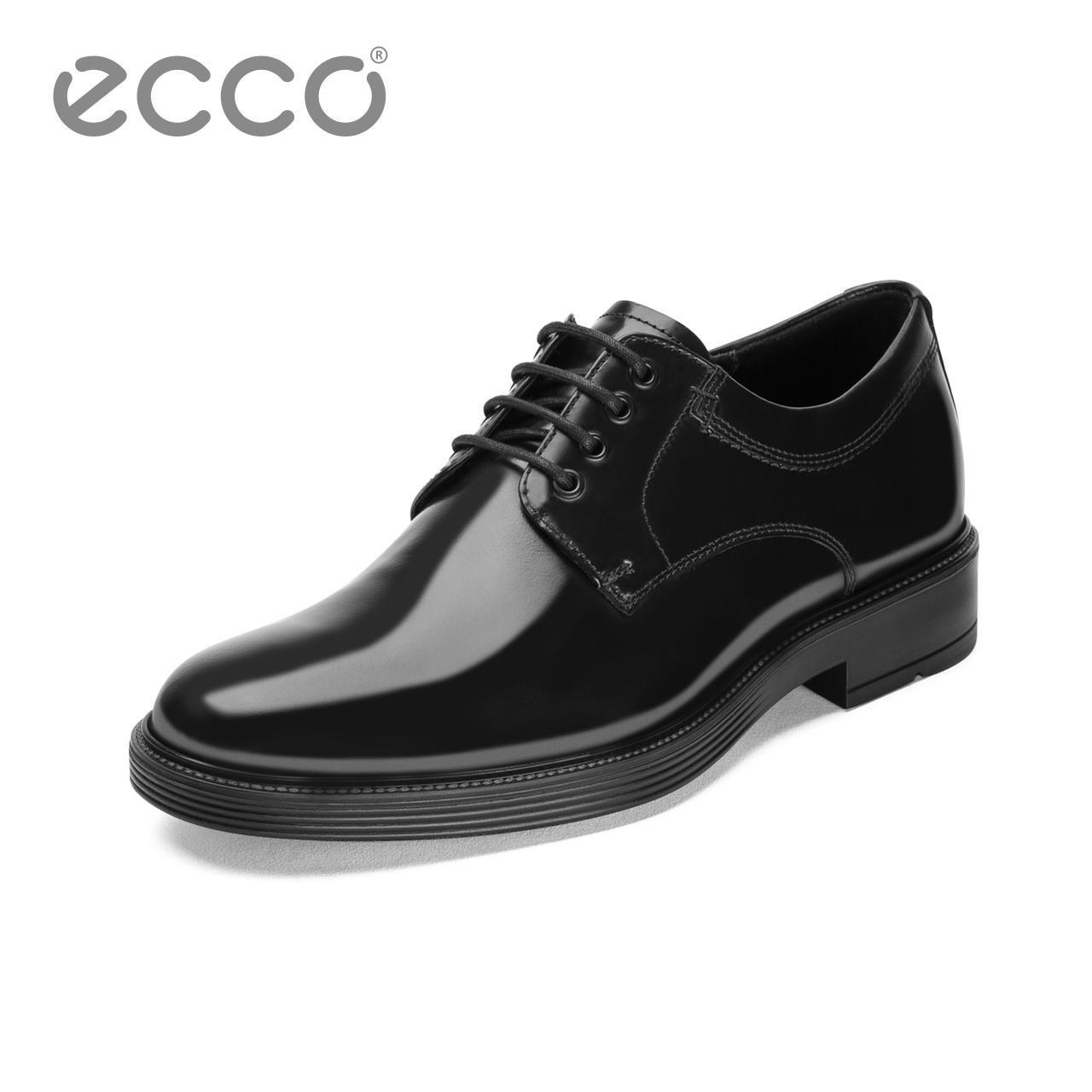 ECCO爱步商务青年正装皮鞋男 系带舒适英伦风德比鞋 纽卡斯610304