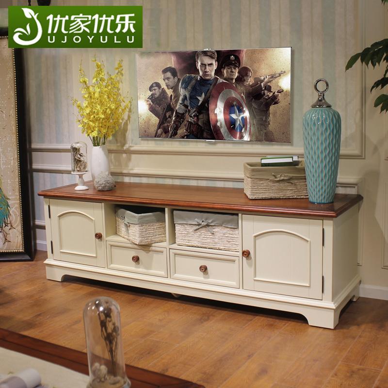 美式乡村实木电视柜白色1.8米田园地中海小户型地柜简约客厅家具