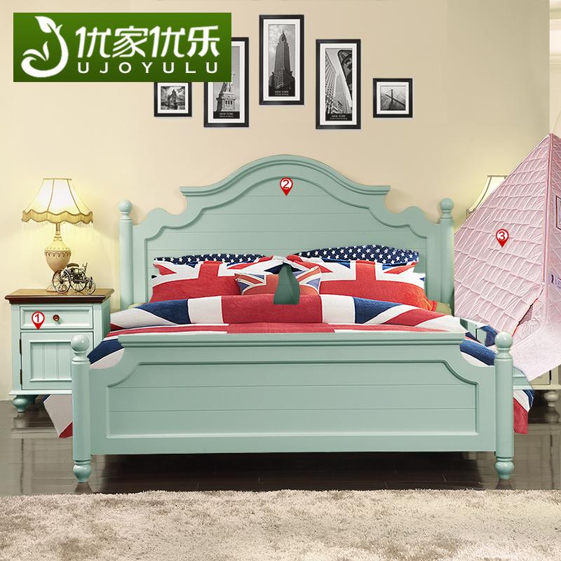 美式乡村卧室成套家具套装组合地中海田园实木主卧双人床套餐蓝色