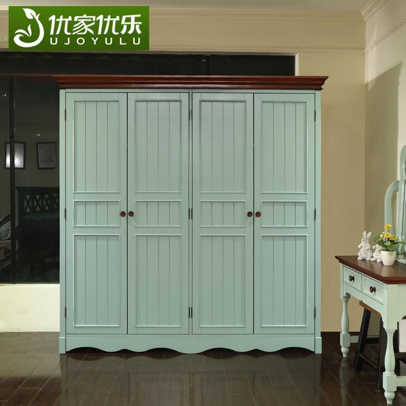 美式乡村实木衣柜田园复古卧室欧式4门地中海大衣柜成都蓝色家具