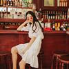 无有无印2018夏新款白色印花雪纺荷叶边衬衫 半身裙 拼蕾丝边套装