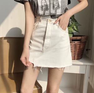 7030#实拍实价 设计感时髦 不对称高低扣牛仔裙