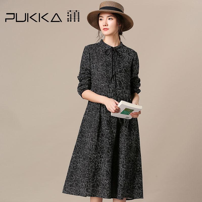 Pukka蒲牌全棉印花系带连衣裙女原创设计大码女装2018秋装新款