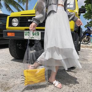 7530实拍 chic风夏季凉爽亮丝三层蛋糕裙中长款大摆裙