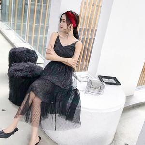 3100#实拍  新款吊带背心显瘦亮片双层网纱半身裙两件套