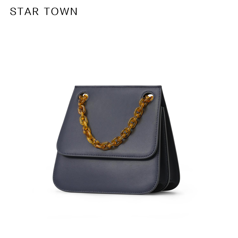 STARTOWN单肩包包女2018新款秋季牛皮链条包小众设计斜挎风琴包