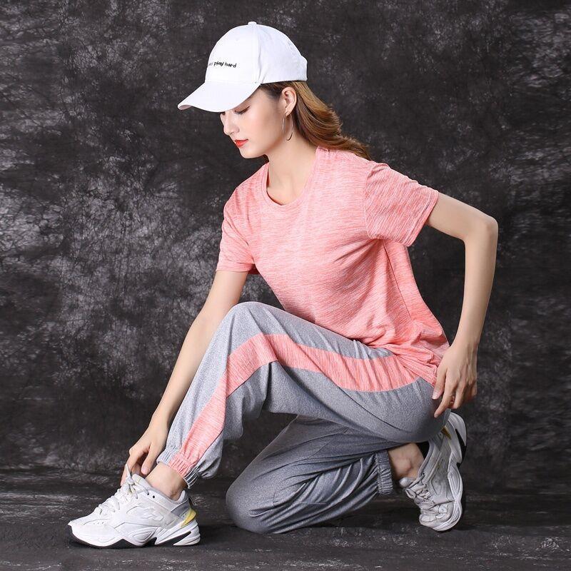 速干瑜伽运动套装女夏时尚洋气撞色宽松短袖长裤跑步服休闲两件套