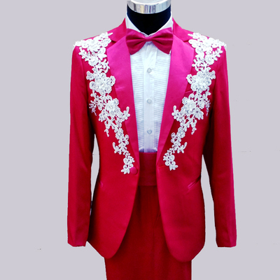 male formal slim suits clothes flower party man suits red white black pink red green wedding groom costume (jacket+pants