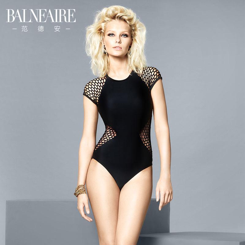 范德安新款保守泳衣女 性感镂空温泉泳装 专业遮肚显瘦连体游泳衣