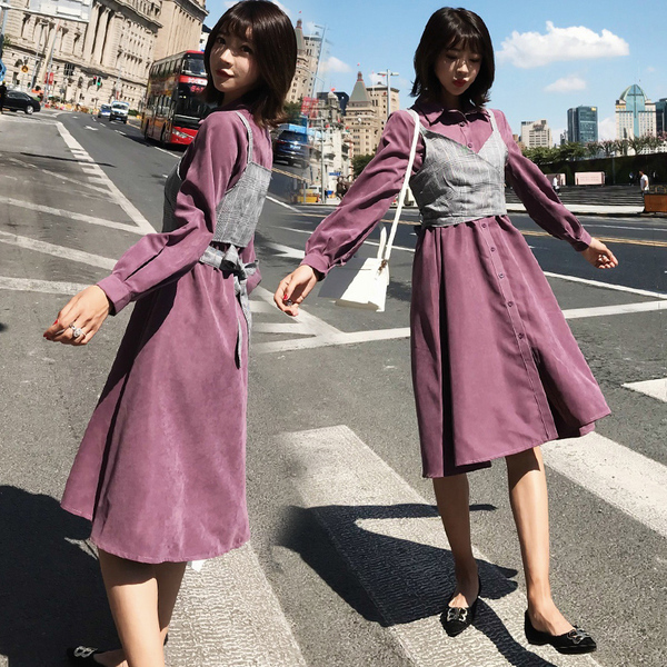 Two-Piece Real Shot + Small Video Lazy Korean Version Of The Waist Long-Sleeved Shirt Dress