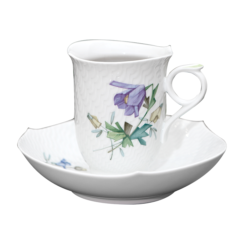 German MEISSEN porcelain mason magic wave series of coloured drawing or pattern flower coffee cups and saucers