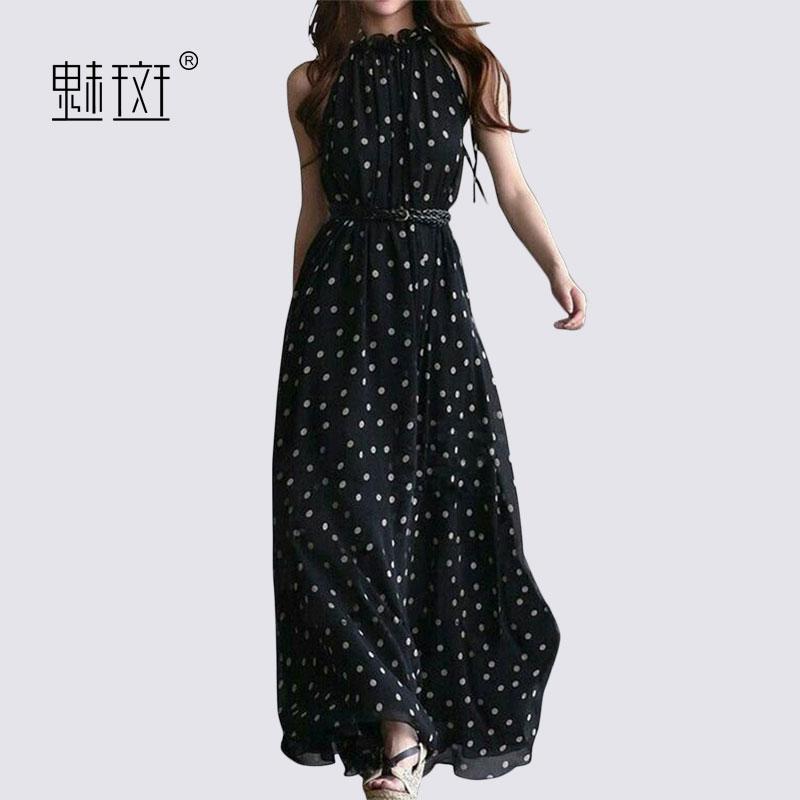 魅斑2018新款长款无袖波点雪纺裙子女夏季修身收腰度假大摆连衣裙