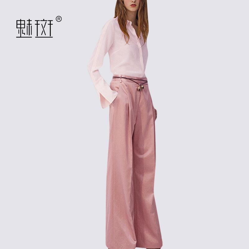 魅斑长袖衬衫上衣阔腿裤两件套秋季女神范社会时髦休闲裤子套装