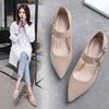 2018秋季新款韩版真皮高跟鞋中粗跟浅口单鞋一字扣玛丽珍鞋女鞋子