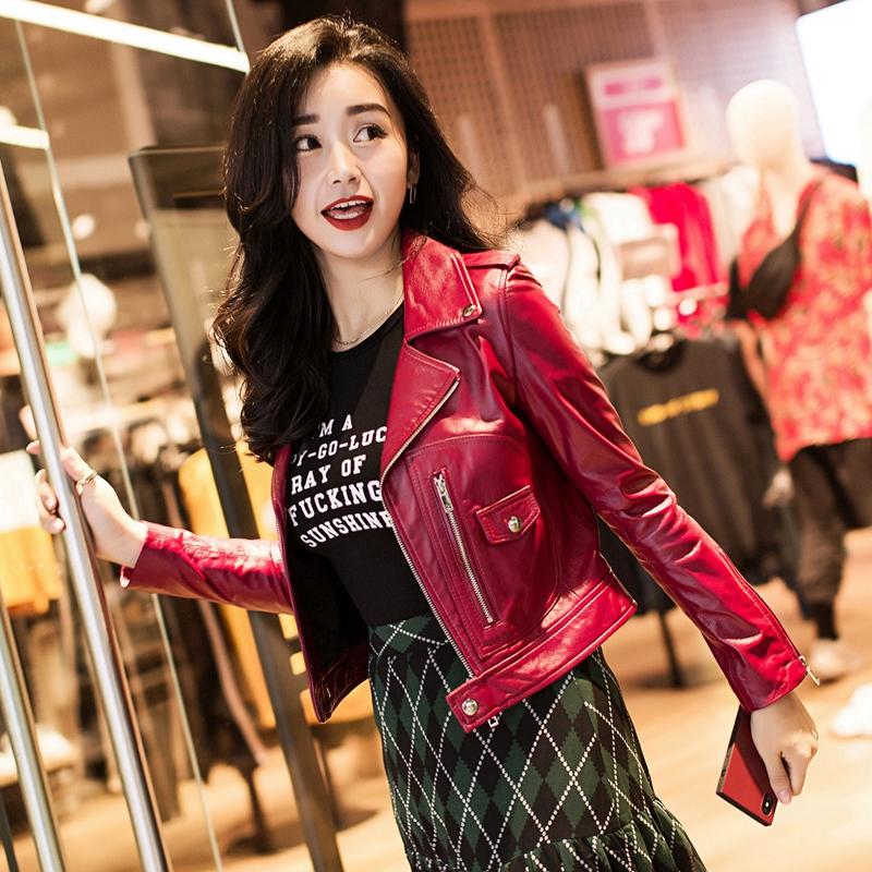 红色真皮皮衣外套女2018新款短款显瘦韩版绵羊皮机车小修身夹克潮