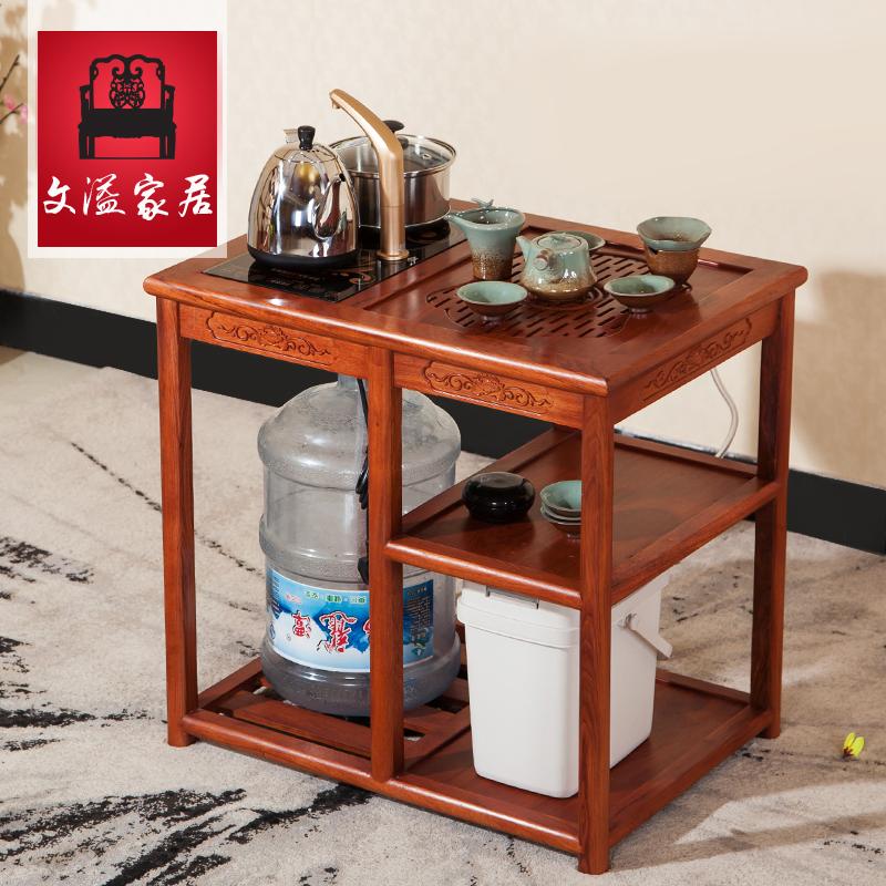 茶桌功夫架茶水迷你小茶几车台简约实木功夫茶桌椅移动茶几带轮车