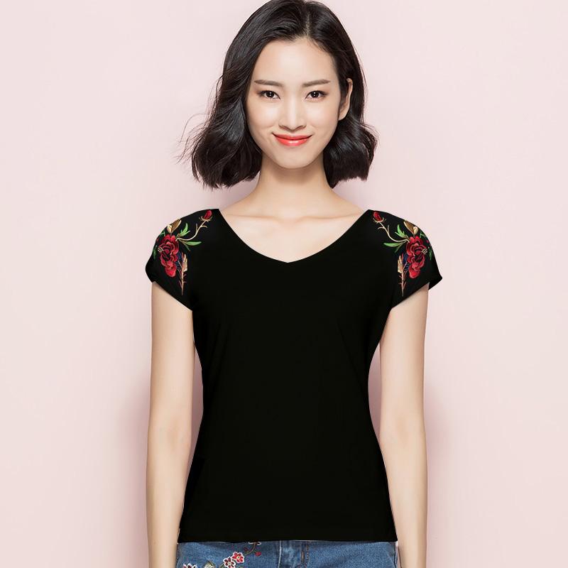【明星大牌】民族风刺绣短袖t恤