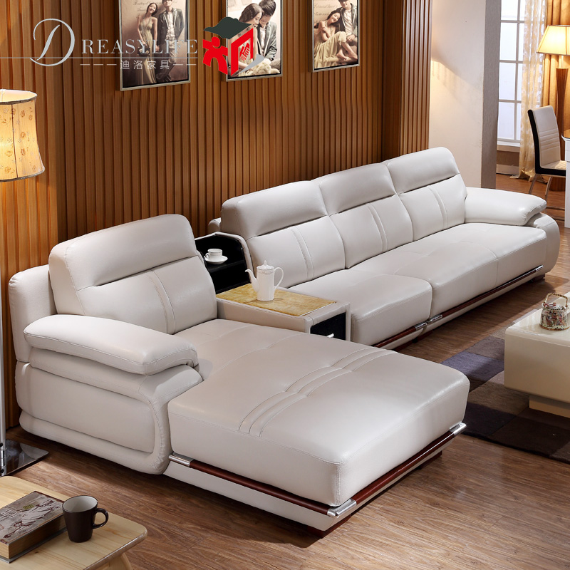 Imported First Layer Cowhide Leather Sofa Thick Leather Living Room  Combination Modern Minimalist Leather Art Sofa