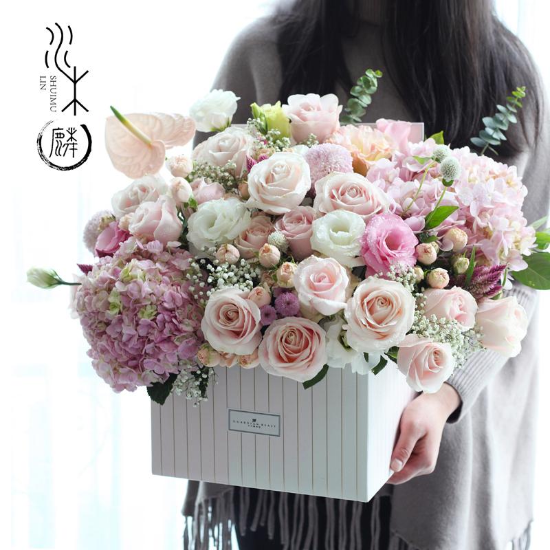 Chengdu Flowers With The City Express Rose Hydrangea Birthday Gift Box Set To Send Leadership Mix And Match Big Hug Bucket
