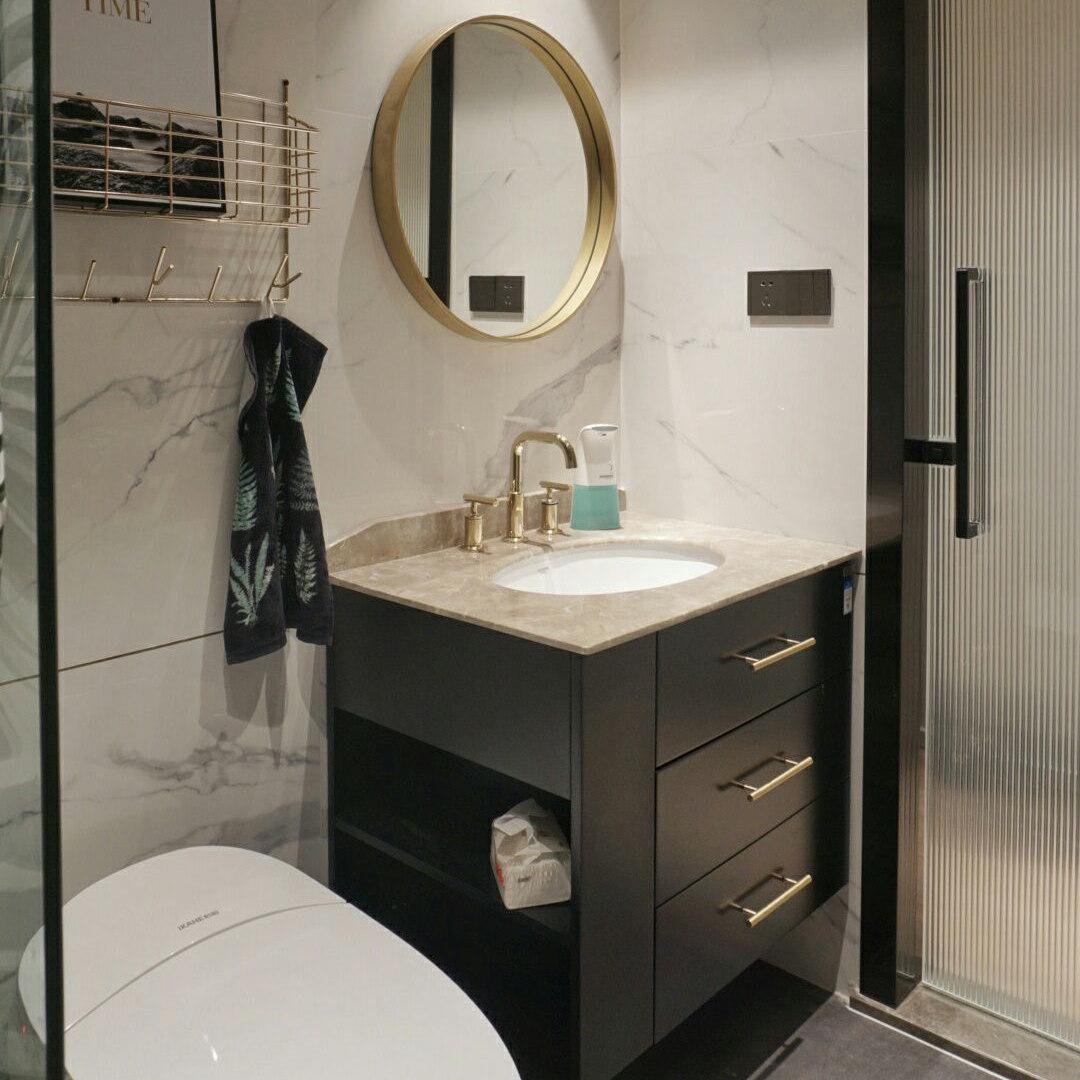 现代简约金色轻奢出口新古典卫生间黑色浴室柜洗脸手盆储物柜组合
