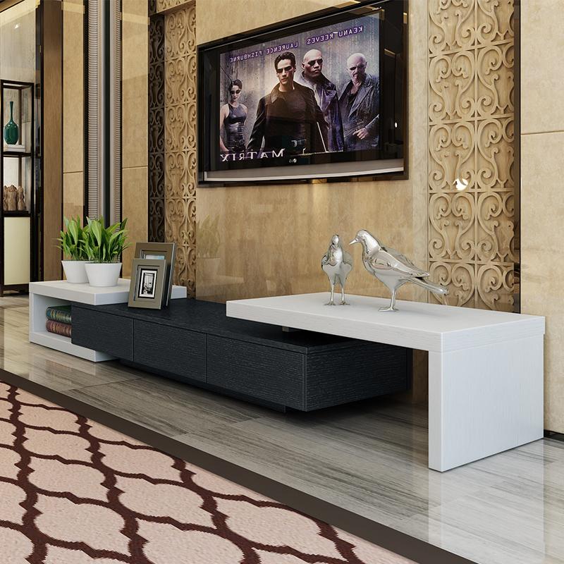 黑白可伸缩电视柜现代简约黑色个性客厅地柜宜家卧室组合电视机柜