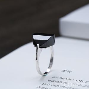 小银匠银饰原创手工 纯银戒指 天然黑玛瑙 时尚女款戒子指环单戒