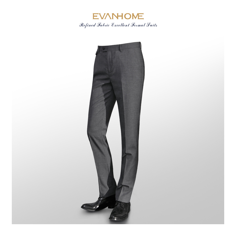 艾梵之家免烫修身款男士西裤商务职业正装西服裤子男式灰色西装裤