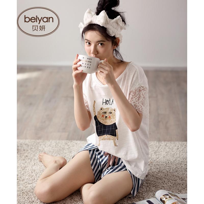 贝妍夏季短袖女士睡衣可爱卡通女舒适面料家居服薄款女夏居家套装