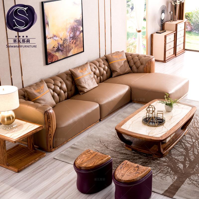 塞瓦那莉家具北欧真皮转角沙发 现代简约实木小户型新中式沙发Q1