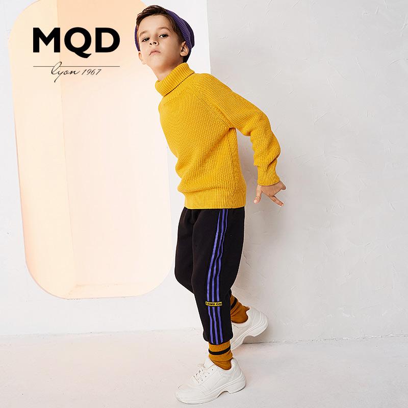 MQD男童童装2018冬季新款针织裤保暖运动休闲裤加绒保暖裤子男