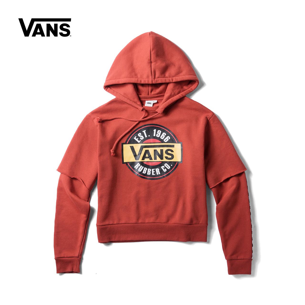 Vans 范斯官方秋季女款加绒连帽卫衣|VN0A3QVI49X-BLK-WHT