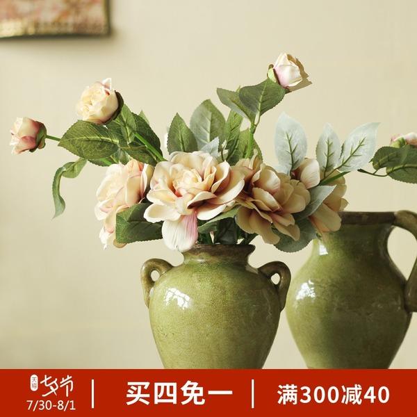 美式乡村仿真花套装摆件家居装饰品复古茶花假花卧室客厅餐桌花艺
