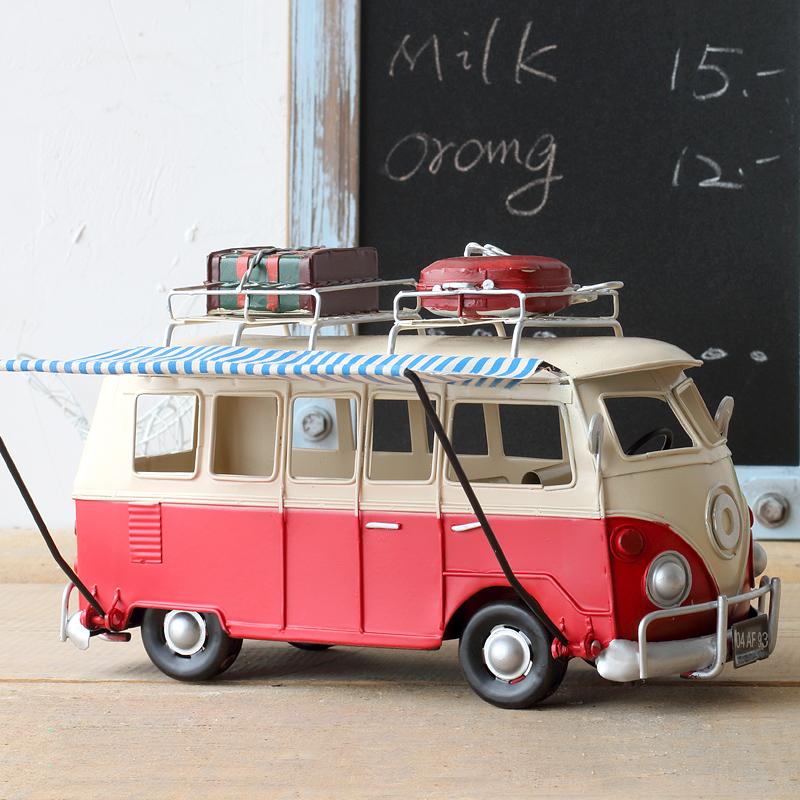 复古创意铁艺摆件手工做旧铁皮汽车餐车巴士家居装饰 工艺品摆设