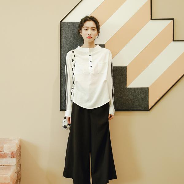 8279#实拍18年秋冬新款韩版v领显瘦文艺长袖衬衫
