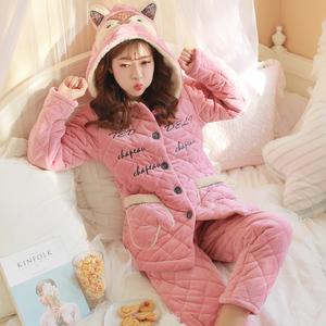 睡衣女冬季三层加厚珊瑚绒夹棉韩版可爱卡通少女家居服套装