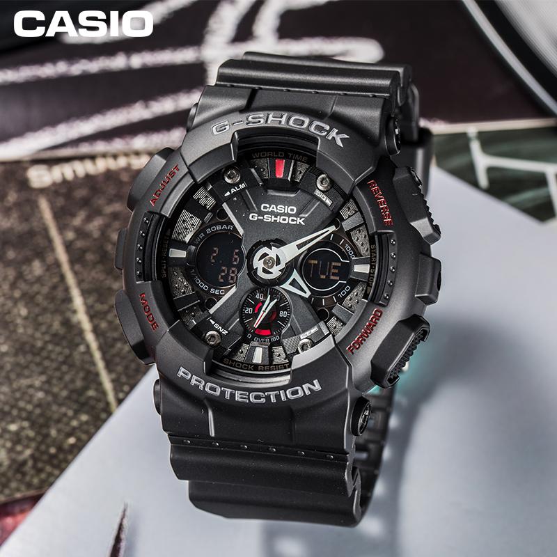casio旗舰店GA-120-1APR运动防水防震防磁男士手表卡西欧官网正品