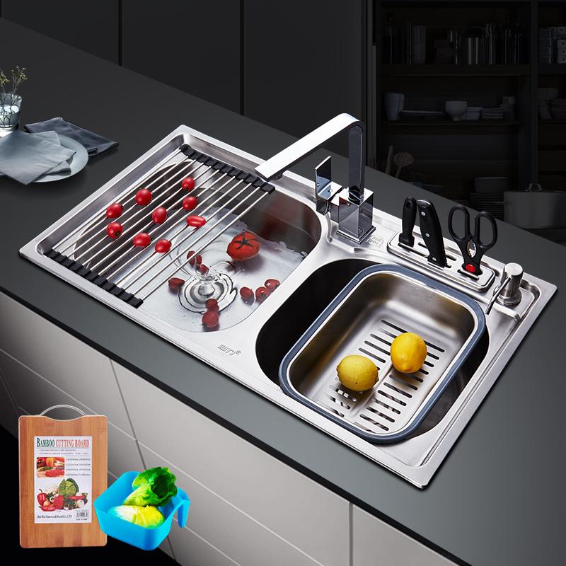 心力厨房304不锈钢水槽双槽 洗菜盆洗碗池双盆淘菜盆家用加厚水池
